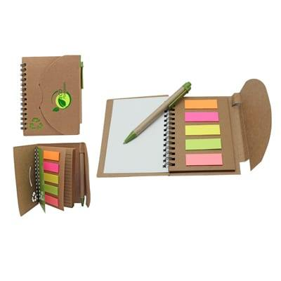 GIH1002 Eco Sticky Notepad with Recycled Paper Pen 2