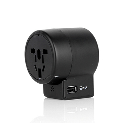 Giftsdepot - Travel Adapter With Smart IC, USB Port, Black Color, Malaysia