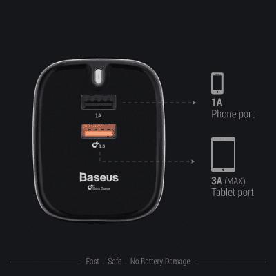 GBS-QC Baseus Funzi Dual USB Fast Charger (pre-order) 2 Giftsdepot Baseus Funzi Dual USB Fast Charger view port