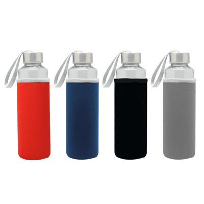 GIH1006 Like Me Travel Glass Bottle with Neoprene Pouch (500ml) 2 Giftsdepot Like Me Travel Glass Bottle with Neoprene Pouch colours