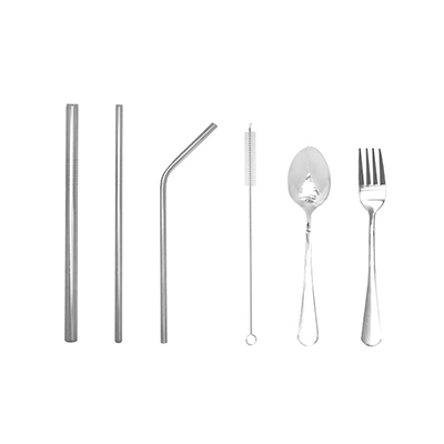 GMG1047 Stainless Steel Cutlery and Straw Set 1 Giftsdepot Stainless Steel Cutlery and Straw Set view