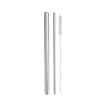 GIH1146 Straight Stainless Steel Straw Set (wool felt pouch) 3 Giftsdepot Straight Stainless Steel Straw Set with Brush view 2