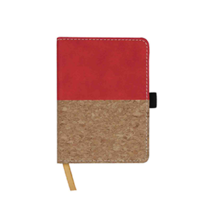 Giftsdepot - Sepia Pocket Notebook 2021, Pocket size, PU & Cork, Red Color, Malaysia